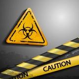 Biohazard symbol and warning tape Stock Photos