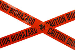 Biohazard Tape. Orange and Black Caution Biohazard Tape. Isolated on White Background Royalty Free Stock Images