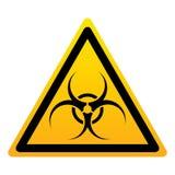 Biohazard trójboka koloru żółtego znak royalty ilustracja