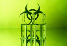 Biohazard und Ampules Stockfoto