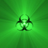 Biohazard warning sign green light flare Royalty Free Stock Images