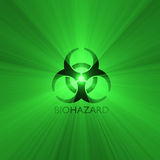 Biohazard warning sign green light flare Royalty Free Stock Photography