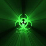 Biohazard warning sign green light halo Stock Images