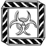Biohazard warning sketch stock illustration