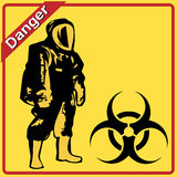 Biohazard warning on yellow sign Royalty Free Stock Images