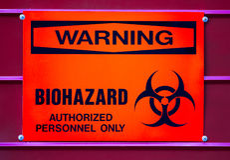 BIOHAZARD Warnzeichen, medizinischer Abfall Stockfotografie