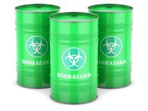 Biohazard waste barrels Stock Image