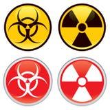 Biohazard y señales de peligro radiactivas Foto de archivo