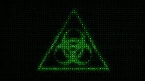 Biohazard-Zeichen - Digital-Daten-Code-Matrix stock footage