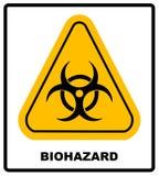 Biohazardsymbolzeichen des biologischen Drohungsalarms, schwarzer gelber Dreieck Signagetext, lokalisiert Stockbild