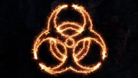 Biohazardtecken, elektriska urladdningar på det biologiska faratecknet Plasma på emblemet Tecknet har bas 29 Arkivbilder