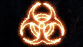 Biohazardtecken, elektriska urladdningar på det biologiska faratecknet Plasma på emblemet Tecknet har bas 31 Royaltyfri Bild