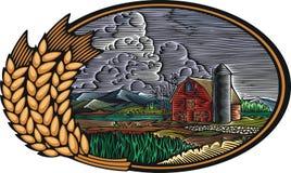 Biohof-Vektor-Illustration in der Holzschnitt-Art Stockfoto