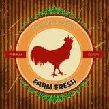 Biohofweinleseaufkleber mit Hühnerhahn Lizenzfreies Stockfoto