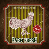 Biohofweinleseaufkleber mit Hühnerhahn Stockbilder