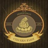 Biohofweinleseaufkleber mit Huhn und Eiern Stockbilder