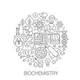 Biokemigenetik i cirkeln - begreppslinje illustration för räkningen, emblem, emblem Biologiteknologi gör linjen tunnare royaltyfri illustrationer