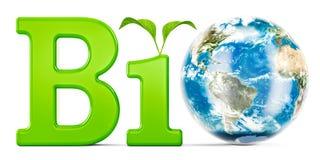Biokonzept mit Erdkugel, Wiedergabe 3D Stockfoto