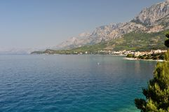 Biokovo mountain with adriatic sea at Tucepi, Croatia Royalty Free Stock Photography