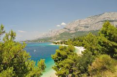 Biokovo mountain with adriatic sea at Tucepi, Croatia Royalty Free Stock Photos
