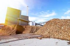Biokraftwerk mit Lagerung des hölzernen Brennstoffs gegen blauen Himmel Stockfotos