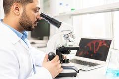 Biologe, der Organismus studiert stockfotografie