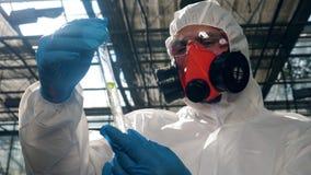 Biologen i säkerhetskläder observerar ett blad i en provrör stock video