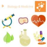 Biologi- och Medecineaffisch med illustrationuppsättningen Arkivbild
