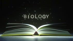 BIOLOGIA podpis robić jarzyć się listy od otwartej książki 3D animacja royalty ilustracja