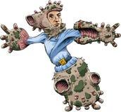 Biological Exoskeleton. A cartoon man wearing a biological, genetically-engineered exoskeleton Stock Photos