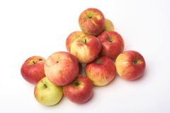 Biological natural apples isolated on white background. Grown without fertilizers and chemistry. Stock Photo