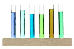 Biological sample analysis presented on a wooden stand Royalty Free Stock Photography