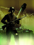 Biological war. Soldier looking like germans soldiers from the second world war, with a gas mask, walking close to a tank among ruins surrounded by a strange stock illustration