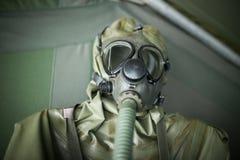 Biological warfare suit. Close up of biological warfare suit Stock Photo