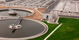 Biological wastewater treatment plant Royalty Free Stock Images