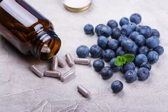 Biologically active supplement - pills for healthy eyes Stock Image