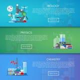 Biologie, chemie en fysica vectorbanners Het conceptenaffiche van het wetenschapsonderwijs in vlak stijlontwerp royalty-vrije illustratie