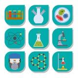 Biologiewissenschaftschemie-Ikonenillustration des Tests des Laborvektors chemische medizinisches Laborwissenschaftliche Lizenzfreies Stockfoto