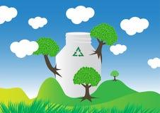 Biologisch afbreekbare fles vector illustratie