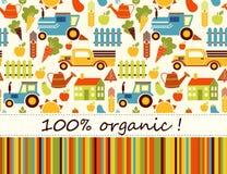 Biologische landbouw vector naadloze achtergrond Stock Afbeeldingen