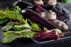Biologisches Lebensmittel auf der grauen Platte Stockbilder
