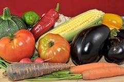 Biologisches Lebensmittel mit rotem Hintergrund Lizenzfreies Stockfoto