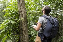 Biologist in a forest trekking Stock Image