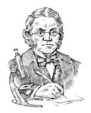 Biologist with a microscope. Elderly scientist professor with glasses. Portrait of a man. Vintage victorian style royalty free illustration