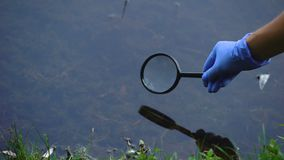 Biologist studying water microorganism in forest lake through magnifying glass
