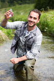 Biologist take a sample in a river in order to do some test. View of a Biologist take a sample in a river in order to do some test Royalty Free Stock Photo