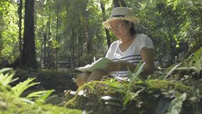 Biologist taking note about natural data and ecosystem in tropical forest.