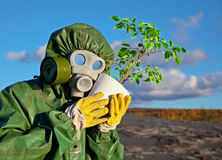 Biologists and genetically modified plant Stock Image