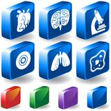 Biology 3D Button Set. Set of 6 Biology Buttons Royalty Free Stock Photography