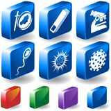 Biology 3D Button Set. Set of 6 3D Biology type icons Stock Photo